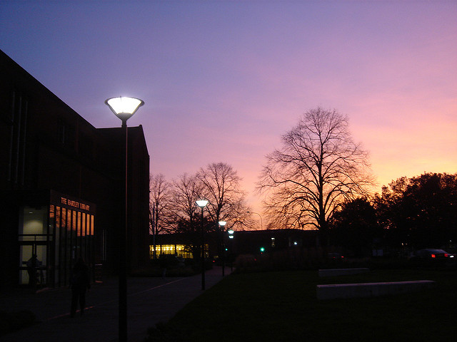 View of the Hartley Library, University of Southampton, at sunset