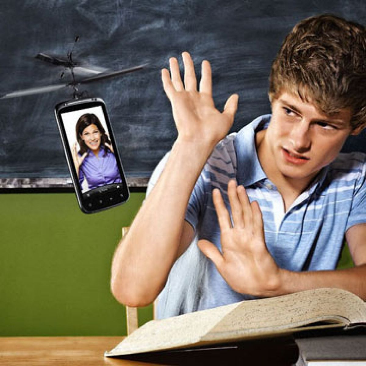 Photo illustration of a boy studying an open book, being disturbed by a hovering cellphone showing an image of his mother