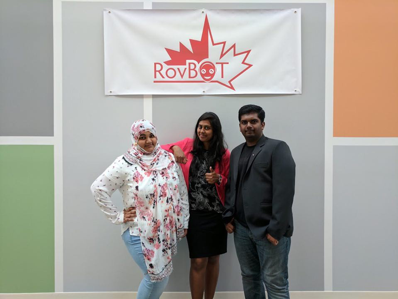 From left: Ruhi Madiwale, Dhivya Jayaraman, and JeyaBalaji Samuthiravelu, the creators of RovBOT